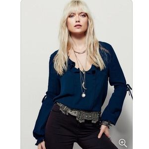 Free People Dream a Little Teal Blue Peasant Top